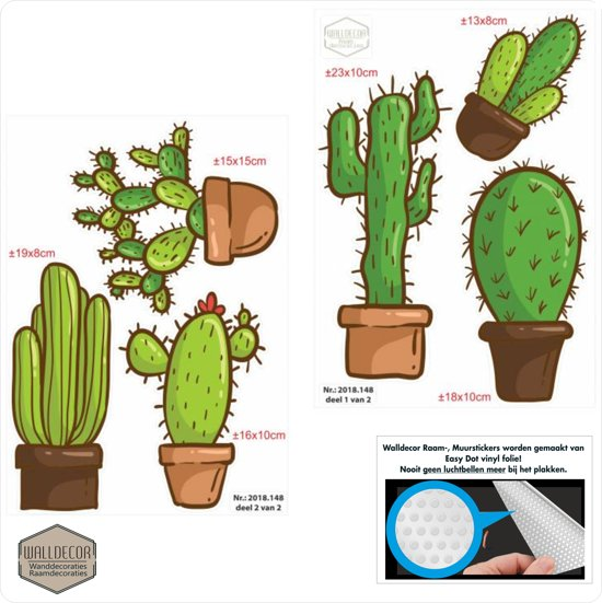 Cactus raamsticker muursticker set
