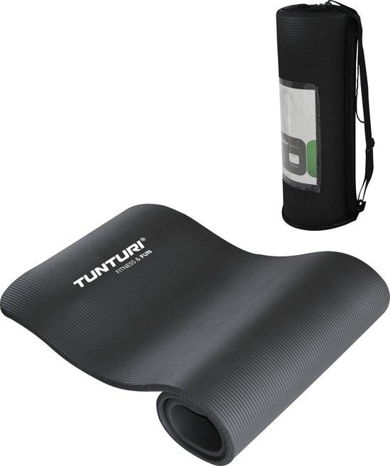 zwarte fitness mat met tas
