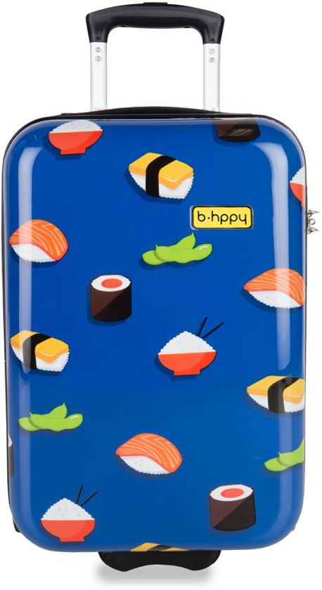 Blauw Handbagagekoffer van BHPPY! met sushi