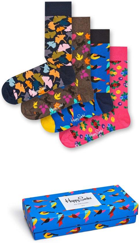 Happy Socks Giftbox met 4 sokken in de herfstkleuren roze, bruin, zwart en blauw