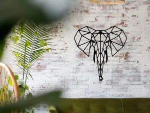 Houten Olifant - Dierenkop Olifant wanddecoratie