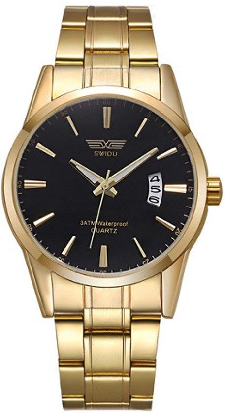 heren Horloge SWIDU - goud/ zwart