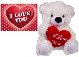 Valentijn - Witte pluche knuffelbeertje met hart 22 cm