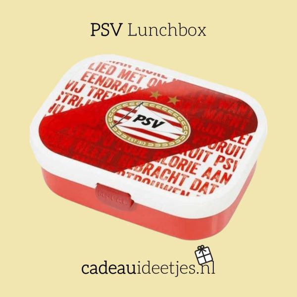 PSV lunchbox met logo en in de kleuren van PSV, rood en wit