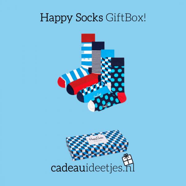 Happy Socks GiftBox met 4 paar sokken in het blauw