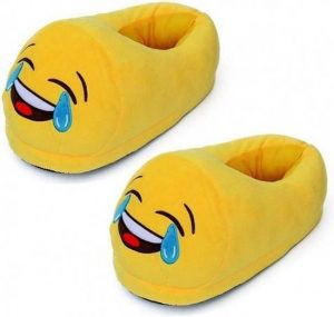 Emoticon sloffen pantoffels huilend lachen