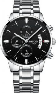 NIBOSI silver Horloge voor hem