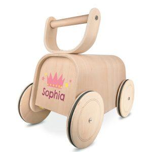Houten speelgoed loopauto met naam
